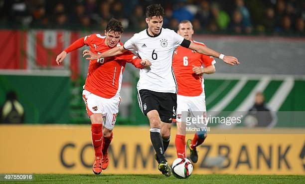 Martin Rasner of Austria challenges Julian Weigl of Germany during the 2017 UEFA European U21 Championships Qualifier between U21 Germany and U21...
