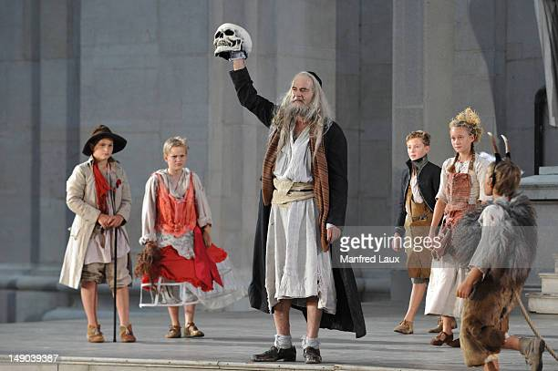 Martin Reinke is seen during the photo rehearsal of 'Jedermann' on the Domplatz ahead of Salzburg Festival 2012 on July 19 2012 in Salzburg Austria...