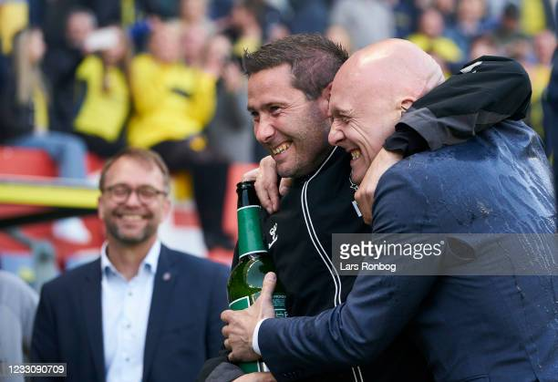 Martin Retov, assistant coach of Brondby IF and Thomas Gravesen of Discovery huddle after the Danish 3F Superliga match between Brondby IF and FC...