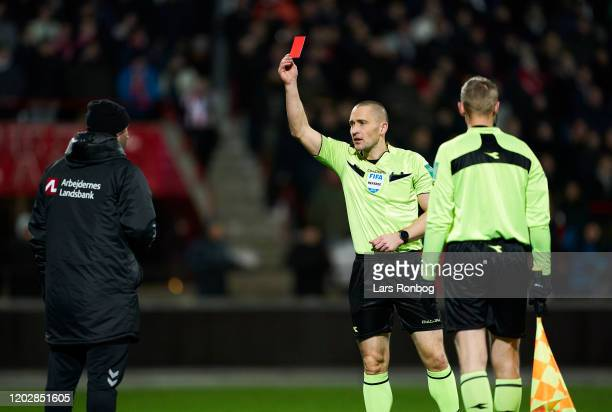 Martin Retov, assistant coach of Brondby IF is send off the pitch after receiving a red card from referee Mads-Kristoffer Kristoffersen during the...
