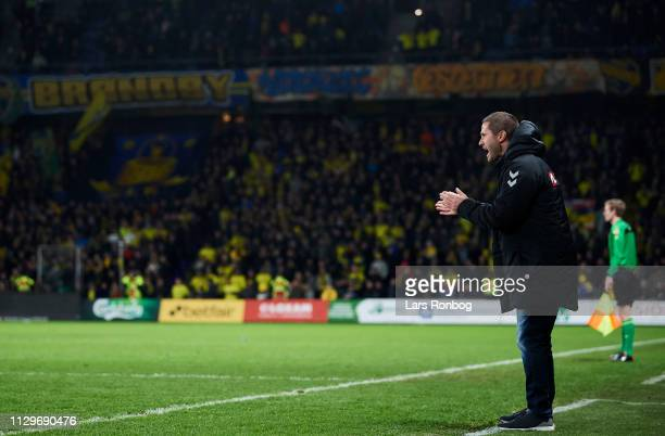 Martin Retov head coach of Brondby IF gestures during the Danish Superliga match between Brondby IF and AaB Aalborg at Brondby Stadion on March 10...