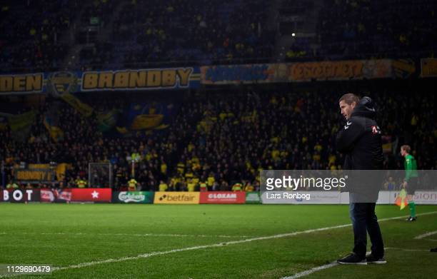 Martin Retov head coach of Brondby IF looks on during the Danish Superliga match between Brondby IF and AaB Aalborg at Brondby Stadion on March 10...