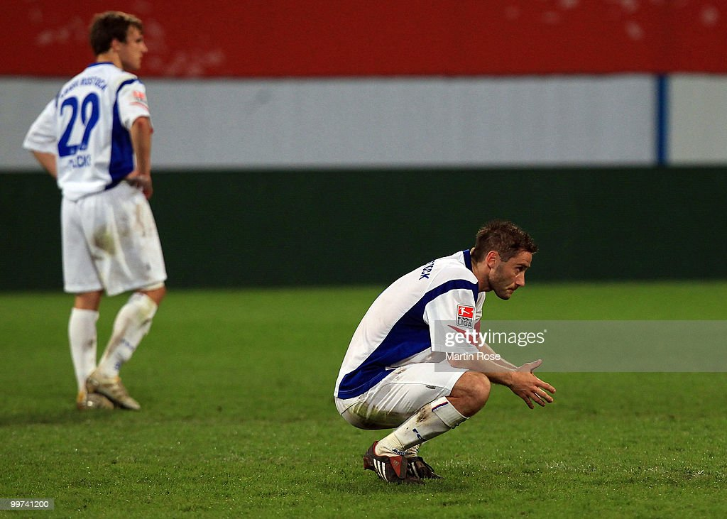 Martin Retov of Rostock looks dejected after the Second Bundesliga play off leg two match between Hansa Rostock and FC Ingolstadt 04 at DKB Arena on May 17, 2010 in Rostock, Germany. Hansa Rostock go down to the Third Bundesliga.