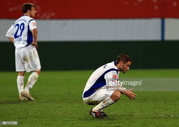 Martin Retov of Rostock looks dejected after the Second Bundesliga play off leg two match between Hansa Rostock and FC Ingolstadt 04 at DKB Arena on...