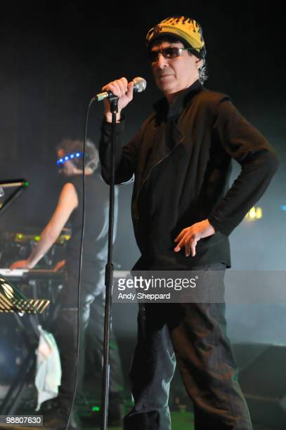 Martin Rev and Alan Vega of American electronic protopunk band Suicide perform on stage at The HMV Hammersmith Apollo on May 2, 2010 in London,...