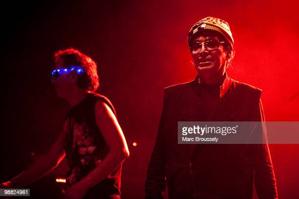 Martin Rev and Alan Vega of Suicide perform on stage at Hammersmith Apollo on May 3, 2010 in London, England.