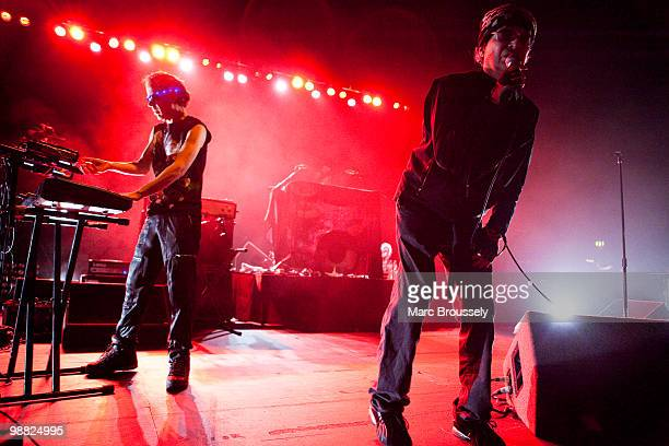 Martin Rev and Alan Vega of Suicide perform on stage at Hammersmith Apollo on May 3 2010 in London England