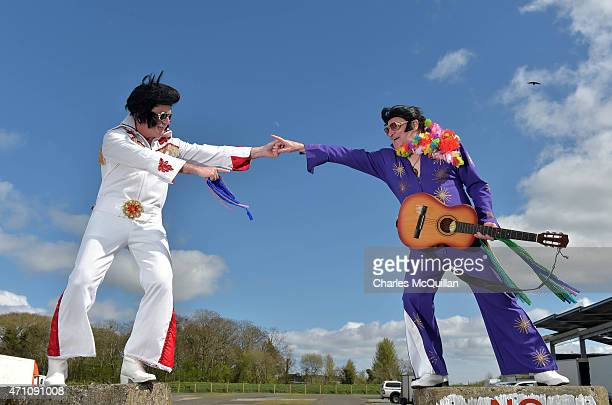 Martin Rice also known as 'Big Elvis' and Sam Woods try to lift morale with a song at the failed Guinness Book of World Record attempt for the...