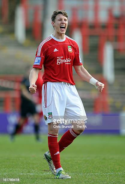 Martin Riley of Wrexham celebrates his side's second goal during the FA Trophy Semi-Final match between Wrexham and Gainsborough Trinity at the...