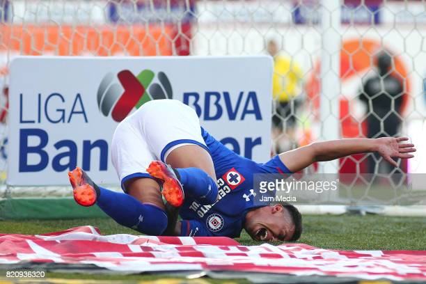 Martin Rodriguez del Cruz Azul complaints after being injured during the 1st round match between Tijuana and Cruz Azul as part of the Torneo Apertura...