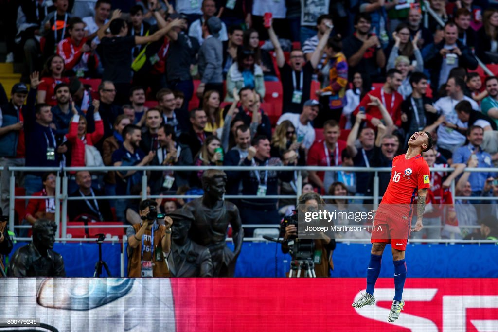 Martin Rodriguez of Chile celebrates his goal during the FIFA Confederations Cup Russia 2017 group B football match between Chile and Australia at Spartak Stadium on June 25, 2017 in Moscow, Russia.