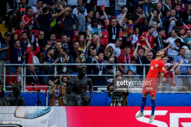Martin Rodriguez of Chile celebrates his goal during the FIFA Confederations Cup Russia 2017 group B football match between Chile and Australia at...