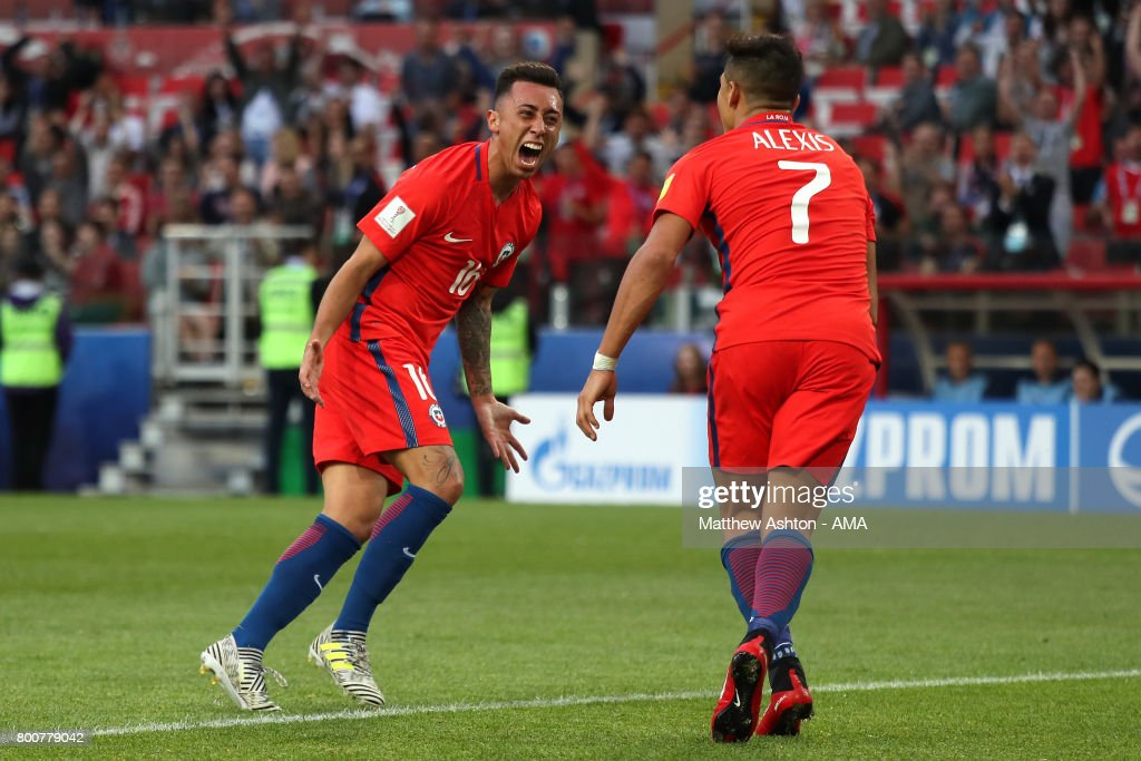 Martin Rodriguez of Chile celebrates scoring a goal to make the score 1-1 with Alexis Sanchez during the FIFA Confederations Cup Russia 2017 Group B match between Chile and Australia at Spartak Stadium on June 25, 2017 in Moscow, Russia.