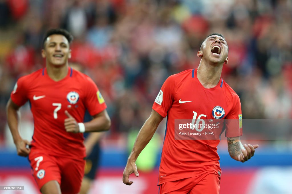 Martin Rodriguez of Chile celebrates scoring his sides first goal during the FIFA Confederations Cup Russia 2017 Group B match between Chile and Australia at Spartak Stadium on June 25, 2017 in Moscow, Russia.