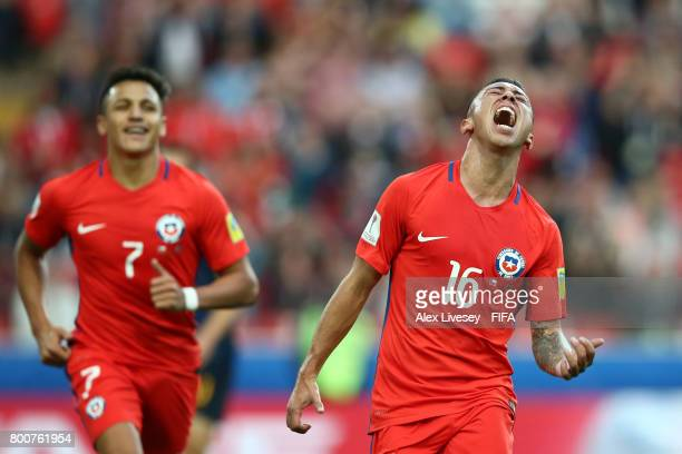 Martin Rodriguez of Chile celebrates scoring his sides first goal during the FIFA Confederations Cup Russia 2017 Group B match between Chile and...