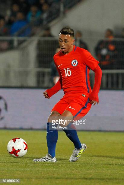 Martin Rodriguez of Chile passes the ball during a match between Chile and Burkina Faso as part of an International Friendly match at Nacional...