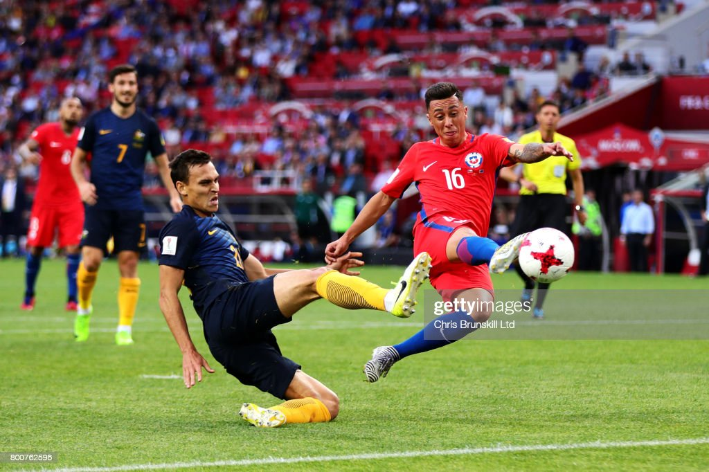 Martin Rodriguez of Chile scores his side's first goal during the FIFA Confederations Cup Russia 2017 Group B match between Chile and Australia at Spartak Stadium on June 25, 2017 in Moscow, Russia.