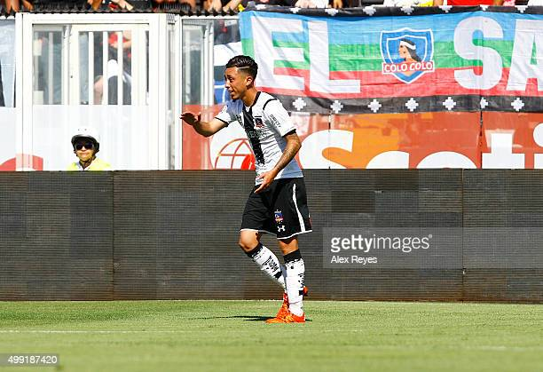 Martin Rodriguez of Colo Colo celebrates after scoring the opening goal during a match between Colo Colo and U de Concepcion as part of 14th round of...