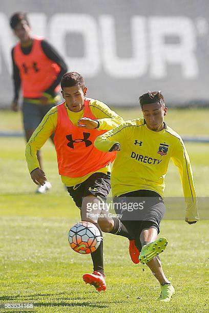 Martin Rodriguez of Colo Colo kicks the ball during a Colo Colo training session at Monumental Stadium on July 26 2016 in Santiago Chile