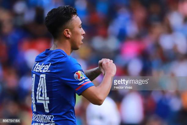 Martin Rodriguez of Cruz Azul celebrates after scoring the first goal of his team during the 12th round match between Pumas UNAM and Cruz Azul as...