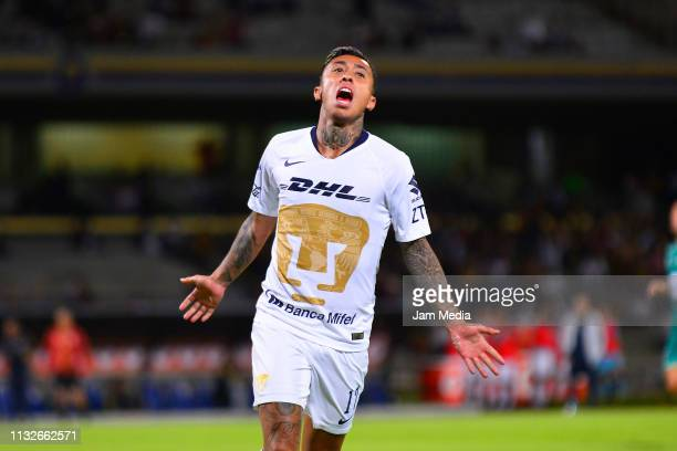 Martin Rodriguez of Pumas celebrates after scoring the third goal of his team during the match between Pumas and Zacatepec as part of the Copa MX...