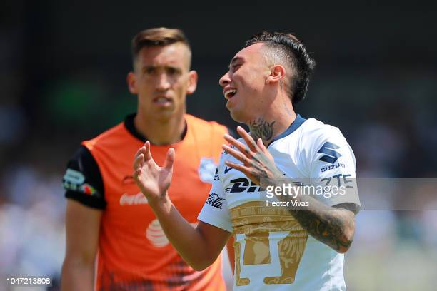 Martin Rodriguez of Pumas reacts during the 11th round match between Pumas UNAM and Puebla as part of the Torneo Apertura 2018 Liga MX at Olimpico...