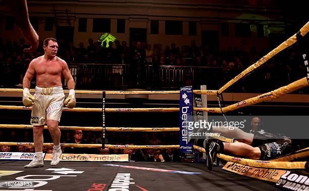 Martin Rogan knocks Albert Sosnowski through the ropes in action during the International Heavywarights III betfair Prize Fighter at York Hall on...