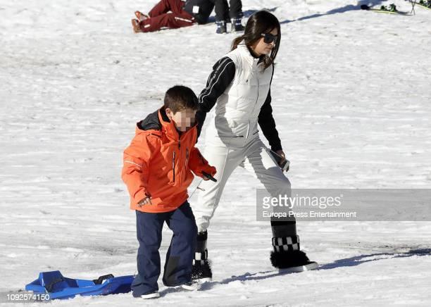 Martin Romero Ezama and Lucia Rivera Romero are seen on December 7 2018 in Baqueira Beret Spain