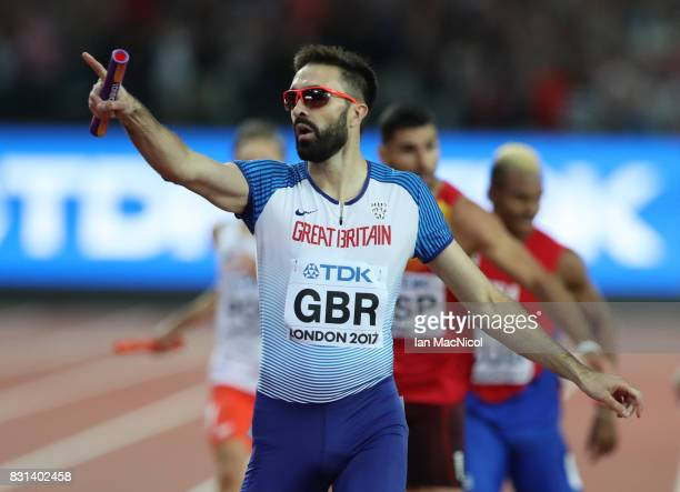 Martin Rooney of Great Britain anchors his team to bronze in the Men's 4x400m Relay final during day ten of the 16th IAAF World Athletics...