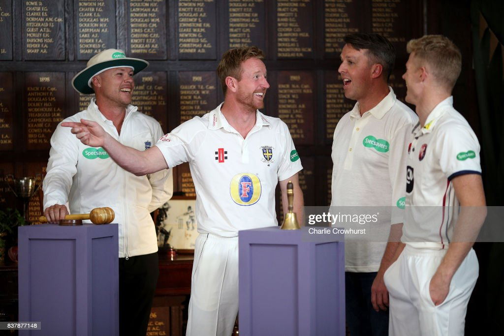 Martin Saggers, Paul Collingwood, Greame Swann and Sam Billings in action during filming of the Specsavers advert The Umpires Strikes Back on August 23, 2017 in London, England.