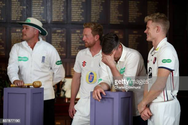Martin Saggers Paul Collingwood Greame Swann and Sam Billings in action during filming of the Specsavers advert The Umpires Strikes Back on August 23...