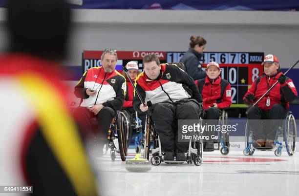 Martin Schlitt from Germany delivers a stone during the World Wheelchair Curling Championship 2017 - test event for PyeongChang 2018 Winter Olympic...