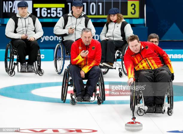 Martin Schlitt of Germany competes in the Wheelchair Curling Round Robin Session 01 during day one of the PyeongChang 2018 Paralympic Games at...