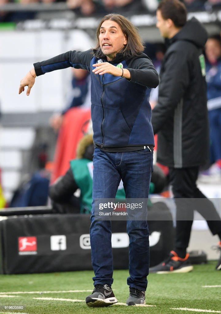 Martin Schmidt, head coach of Wolfsburg reacts during the Bundesliga match between VfL Wolfsburg and FC Bayern Muenchen at Volkswagen Arena on February 17, 2018 in Wolfsburg, Germany.