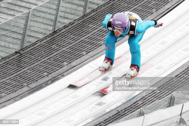 Martin Schmitt of Germany competes during the FIS Ski Jumping World Cup event of the 58th Four Hills Ski Jumping Tournament on December 31, 2009 in...