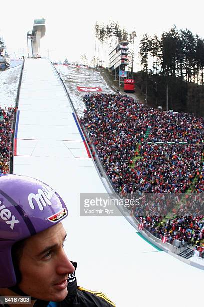 Martin Schmitt of Germany is seen during the FIS Ski Jumping World Cup at the 57th Four Hills Ski Jumping Tournament on January 4 2009 in Innsbruck...