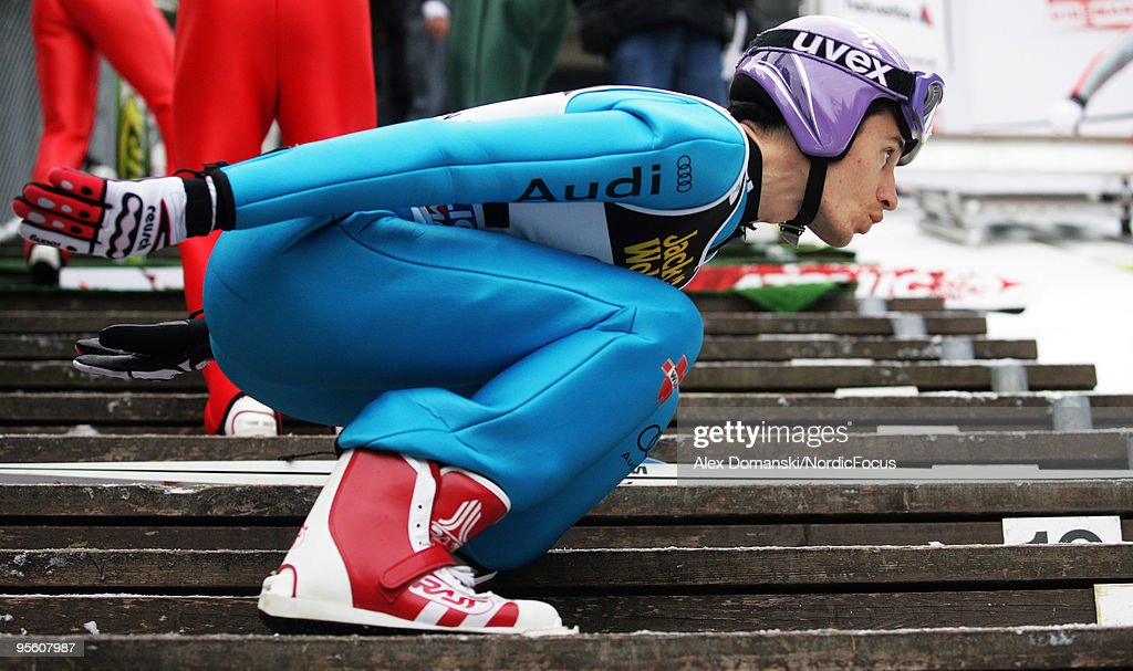 Martin Schmitt of Germany warms up during the FIS Ski Jumping World Cup event at the 58th Four Hills Ski Jumping Tournament on January 06, 2010 in Bischofshofen, Austria.