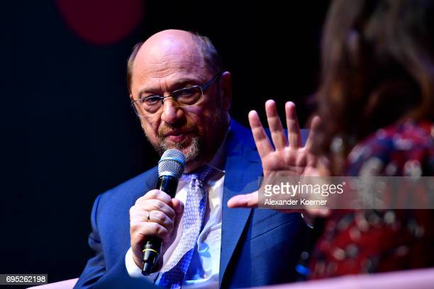 Martin Schulz and Brigitte Huber speak on stage during the Brigitte Live talk at Maxim Gorki Theater on June 12 2017 in Berlin Germany