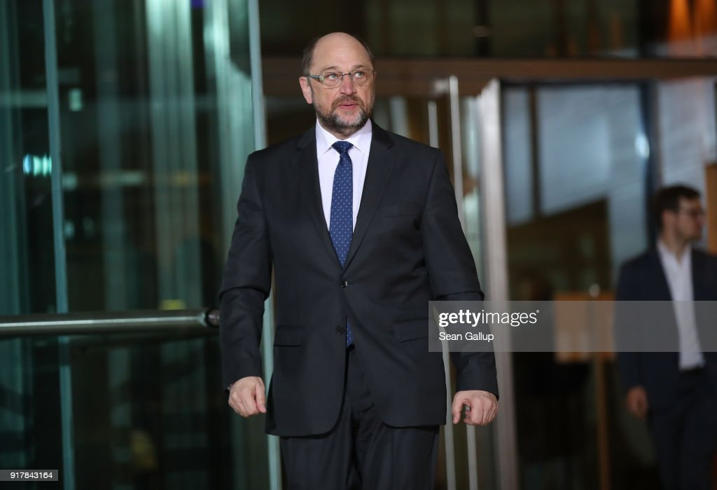 Martin Schulz arrives to speak to the media to announce he is stepping down as leader of the German Social Democrats (SPD) at SPD headquarters on February 13, 2018 in Berlin, Germany. The party is currently in crisis, with its popularity plummeting in polls down to under 17% following chaos in its leadership. Schulz said he is proposing SPD Bundestag leader Andrea Nahles relpace him, though it will take an SPD congress on April 22 to decide. Until then it is unclear who will lead the party.