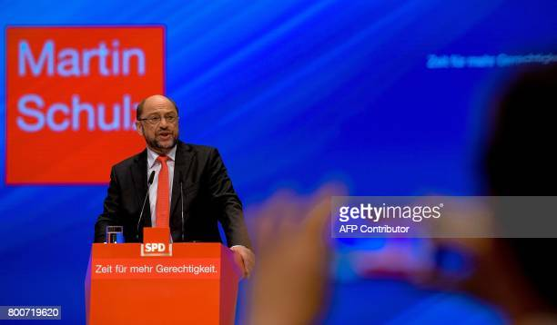 Martin Schulz chairman of Germany's social democratic SPD party and candidate for chancellor gives a speech during an SPD party congress in Dortmund...