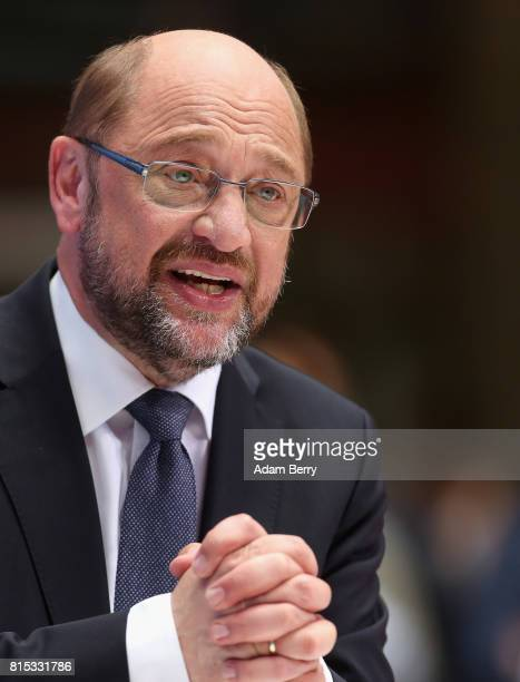 Martin Schulz chairman of the German Social Democratic Party speaks during an SPD party gathering on July 16 2017 in Berlin Germany Schulz spoke at...