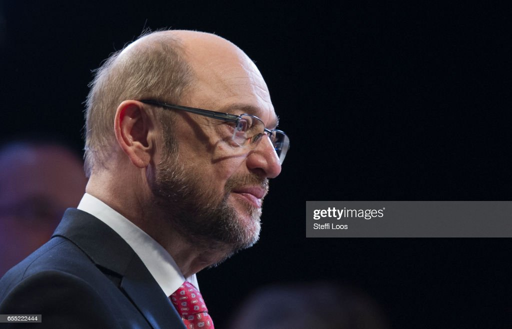 Martin Schulz, chancellor candidate of the German Social Democrats (SPD) gives an interview at a Federal Party Congress on March 19, 2017 in Berlin, Germany. Schulz, who announced his candidacy in January has since seen strong support in recent polls and has been officially nominated at the congress and elected as party leader. Germany is scheduled to hold federal elections in September.