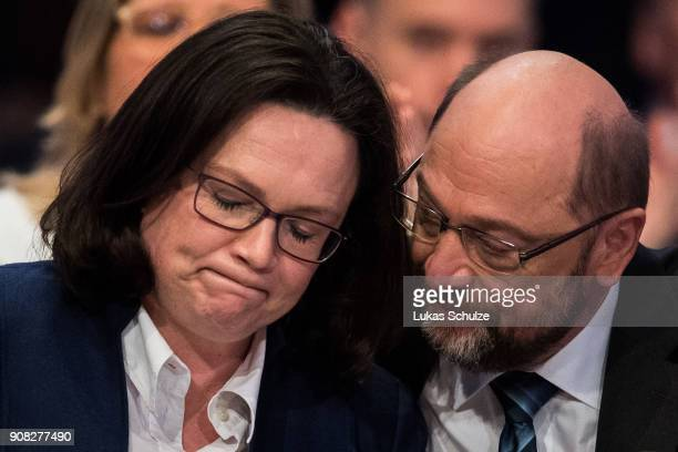 Martin Schulz head of the German Social Democrats and Andrea Nahles head of the Bundestag faction of the German Social Democrats react during the SPD...