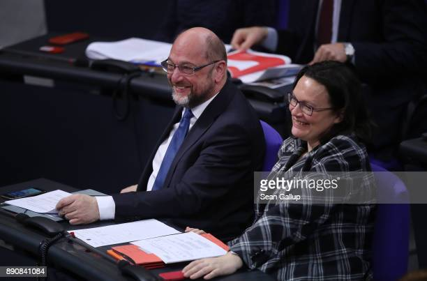 Martin Schulz head of the German Social Democrats attends debates and votes at the Bundestag over German foreign military missions on December 12...
