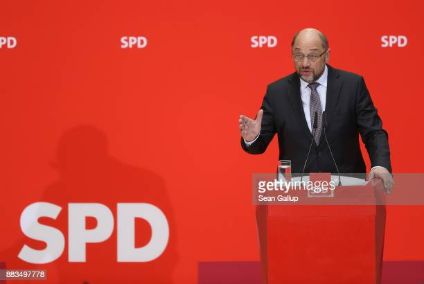 Martin Schulz head of the German Social Democrats speaks to the media to deny claims that there was a 'green light' for the creation of a new...