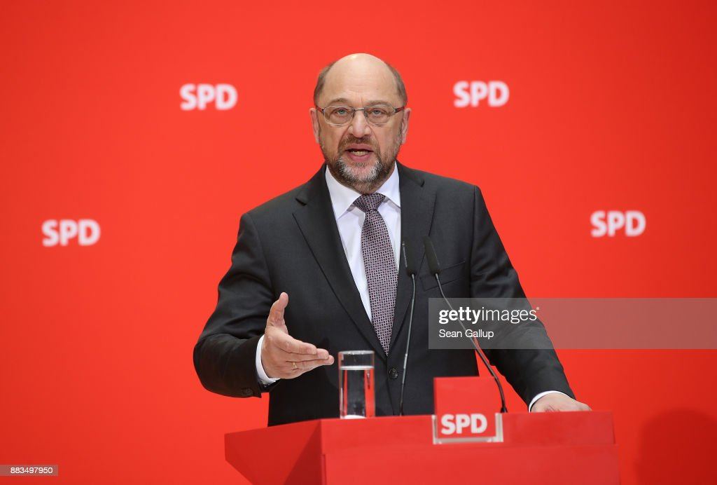 Martin Schulz Gives Statements Following First Coalition Meeting