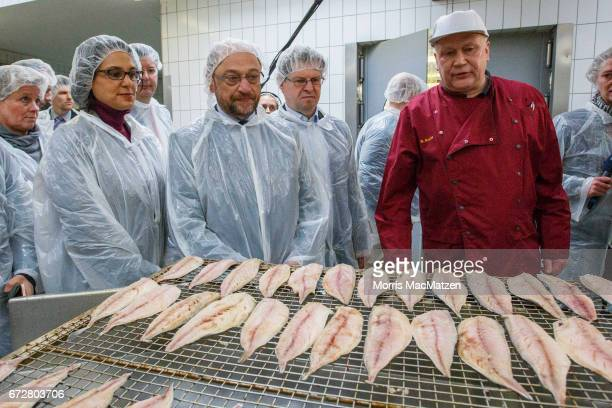 Martin Schulz, lead chancellor candidate of the German Social Democrats , visits the Meergold fish smokehouse while campaigning for the SPD in state...