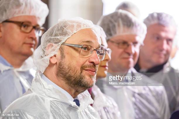 Martin Schulz lead chancellor candidate of the German Social Democrats visits the Meergold fish smokehouse while campaigning for the SPD in state...