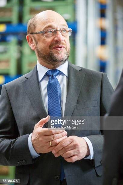 Martin Schulz lead chancellor candidate of the German Social Democrats visits the EDURpump factory while campaigning for the SPD in state elections...