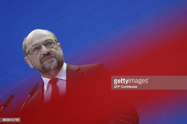 Martin Schulz leader and top candidate of Germany's social democratic SPD party addresses a press conference after the party leadership meeting on...
